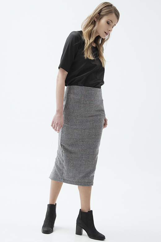 CHECK LAMBWOOL MIDI SKIRT
