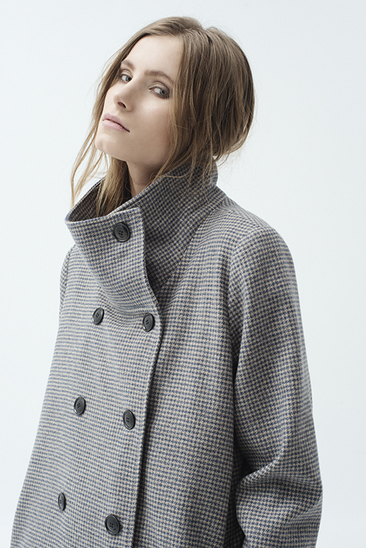 DOUBLE - BREASTED HOUNDSTOOTH WOOL COAT