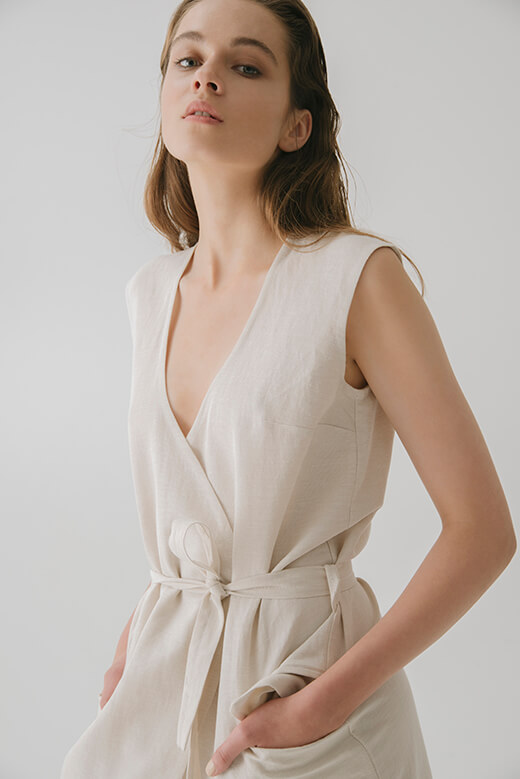 OVERLAPPED IN FRONT LINEN DRESS