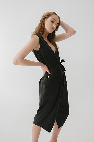 OVERLAPPED IN FRONT MIDI DRESS